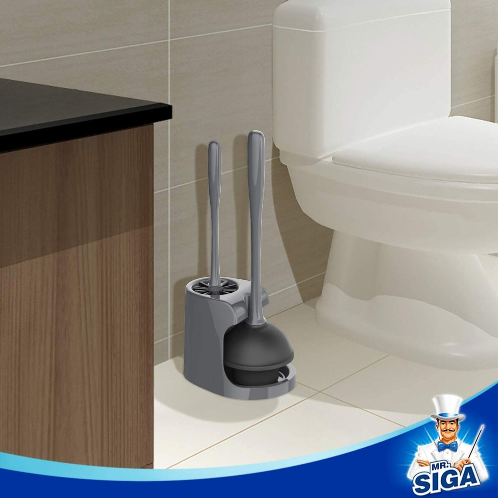 MR.SIGA Toilet Plunger and Bowl Brush Combo for Bathroom Cleaning, Gray, 1 Set
