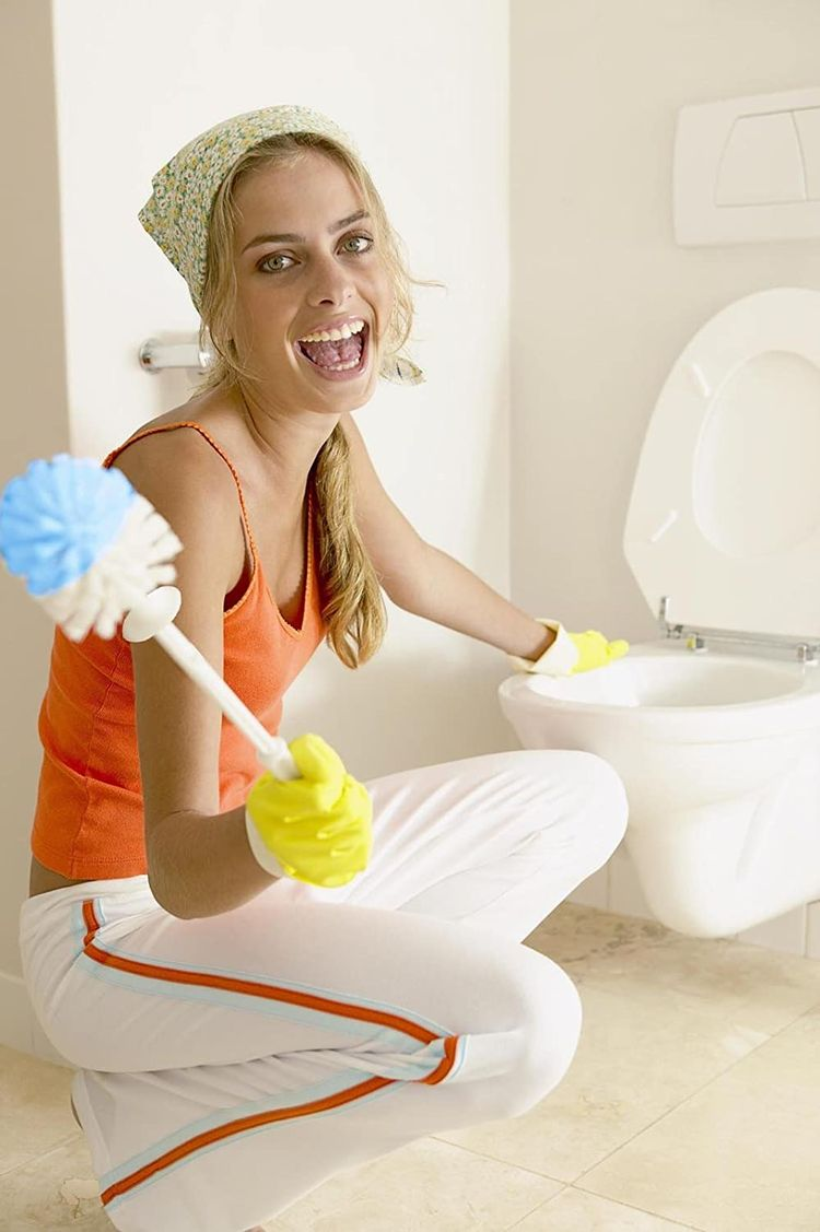 Kinsky Toilet Brush, Strong Bristles Good Grips Hideaway Compact Long Brush and Enough Heavy Base for Bathroom Toilet