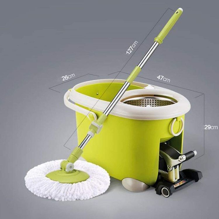 JNMDLAKO Mop Head Four-Drive Rotary Mop Bucket Mop Good God Drag Topology to Mop Cloth Hand-Free Cleaning Tools Wet and Dry Green (Color : Green)