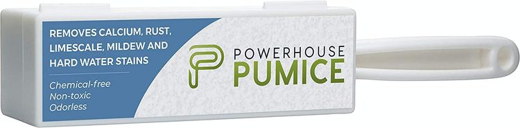 Powerhouse Pumice Toilet Bowl Cleaning Stone with Handle – Stain Remover, Cleans Away Limescale, Hard Water Rings, Calcium Buildup, Iron and Rust