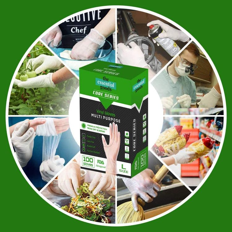 Essential Goods Disposable Vinyl Gloves  Non Latex, Powder Free, Ultra Strong, Clear   Food, Multi-purpose and Cleaning safe
