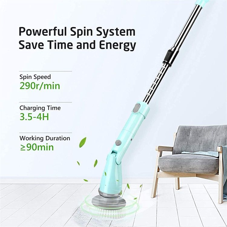 Homitt Electric Spin Scrubber Shower Scrubber, Power Bathroom Scrubber with 4 Cleaning Brush Heads and Adjustable Extension Handle for Tub, Kitchen