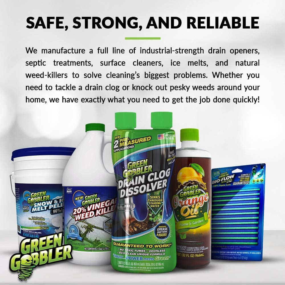 Green Gobbler Ultimate Main Drain Opener + Drain Cleaner + Hair Clog Remover - 64 oz (Main Lines, Sinks, Tubs, Toilets, Showers, Kitchen Sinks)