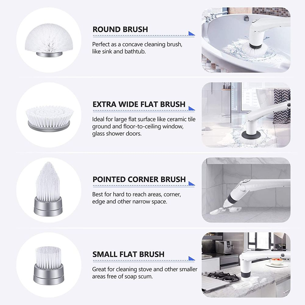 Tilswall Electric Spin Scrubber, Cordless Grout Shower 360 Power Bathroom Cleaner with 4 Replaceable Rotating Brush Heads, Tool-Free Adjustable Extension Handle for Tile, Floor, Bathtub