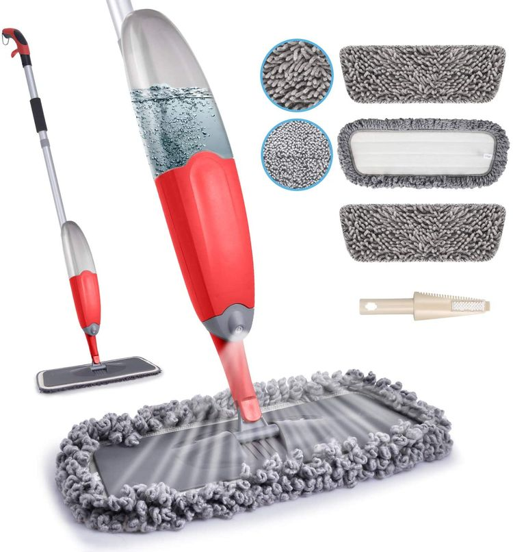 HOMTOYOU Microfiber Spray Mop for Floor Cleaning, Dry Wet Hardwood Kitchen Floor Mop with 635ml Water Tank 360 Degree Spin Dust Chenille Mop with 3 Reusable Refills for Laminate Tile Marble