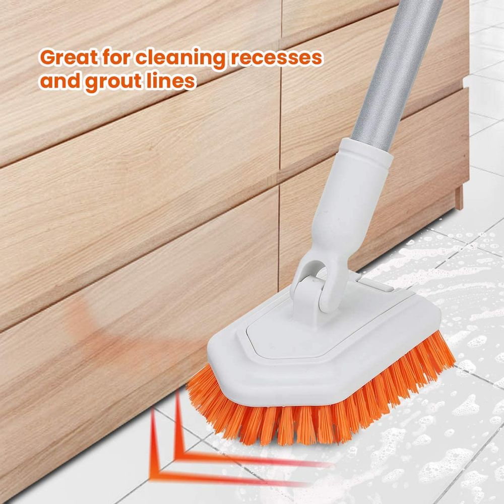 """MATCC Shower Cleaning Brush Bath Tub and Tile Scrubber Brush with 42"""" Extendable Long Handle Stiff Bristles Grout Scrub Brushes for Cleaning Shower Bathroom Model MBB001"""