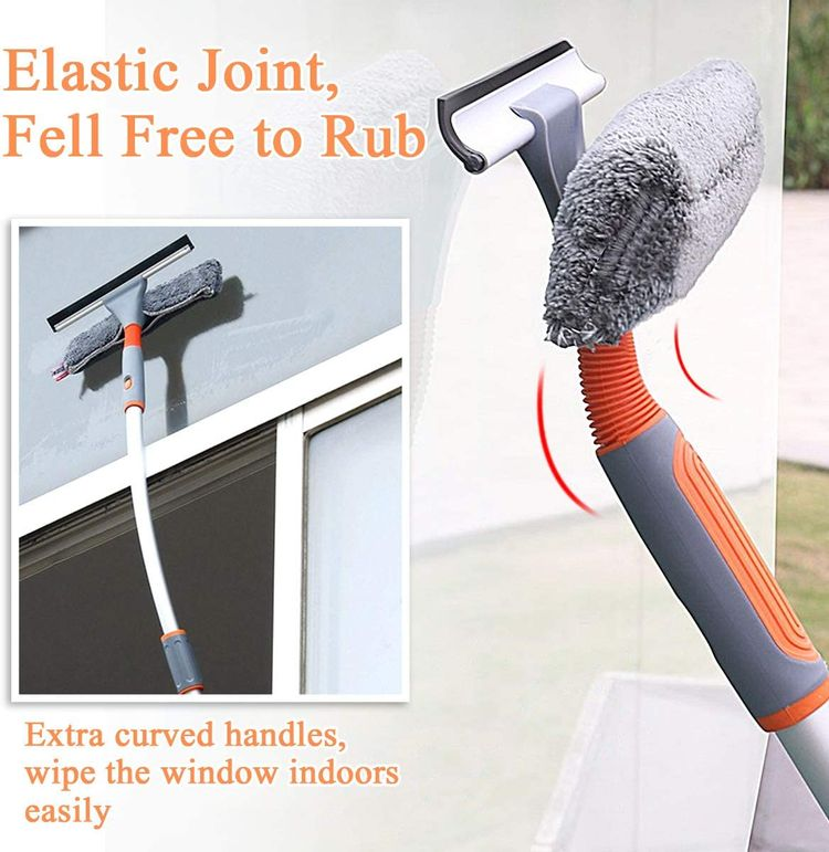 """Baban Squeegee Window Cleaner 2 in 1 Window Cleaning Tool with Elbow and Straight Extension Pole, 61"""" Telescopic Window Washing Equipment with Bendable Head for Car Indoor Outdoor High Windows (2 Pad)"""