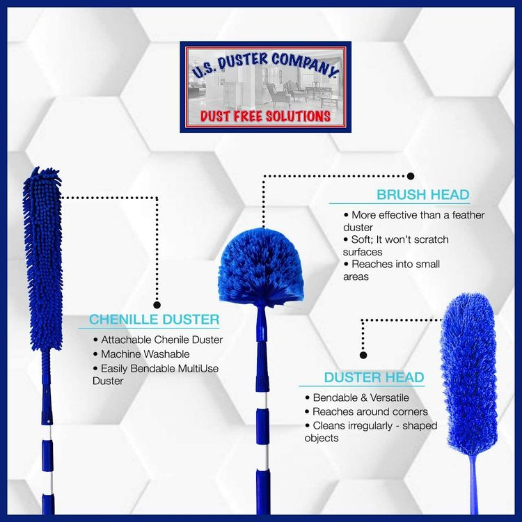 U.S. Duster Company Triple Action Microfiber Dusting Kit with 18-20 feet Aluminum Telescopic Extension Pole - Webster Cobweb Duster, Cathedral Ceiling Fan Duster, Plus Chenille Duster