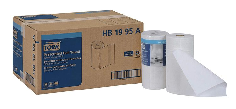 """Tork HB1995A Jumbo Roll Perforated Paper Roll Towel, 2-Ply, 11"""" Width x 9"""" Length, White (Case of 12 Rolls, 210 Per Roll, 2,520 Towels)"""