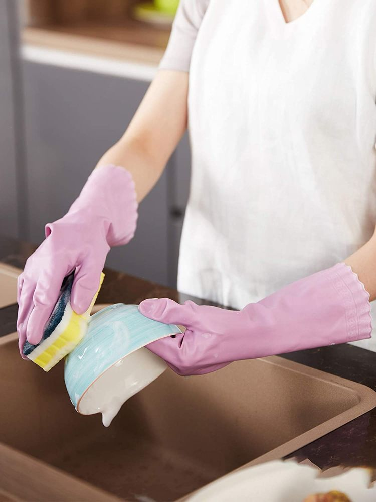 LANON Wahoo PVC Household Cleaning Gloves, Reusable Dishwashing Gloves with Cotton Flocked Liner, Waterproof, Non-Slip, Small