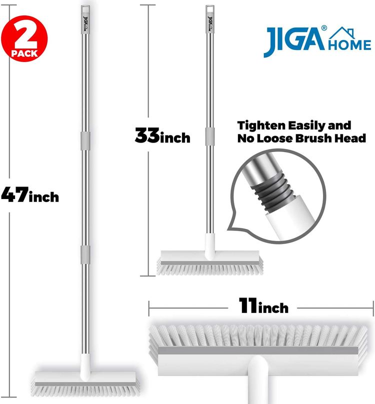 JIGA 2 Pack Floor Scrub Brush with Long Handle, Stiff Bristle Brush Scrubber, Cleaning Brush for Deck, Bathroom, Tub, Tile, Grout, Kitchen, Swimming Pool, Patio, Garages, Gray