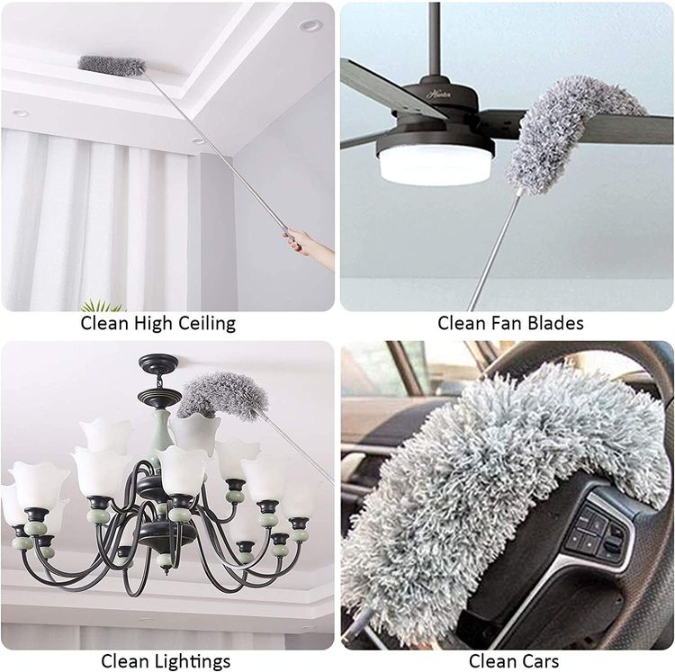 Onlyoung Microfiber Duster with Extension Pole(Stainless) 30'' to 100'', Extendable Long Dusters, Bendable Head & Scratch Resistant, Cobweb Duster for Cleaning Ceiling Fan, Furniture Blinds Vents Cars