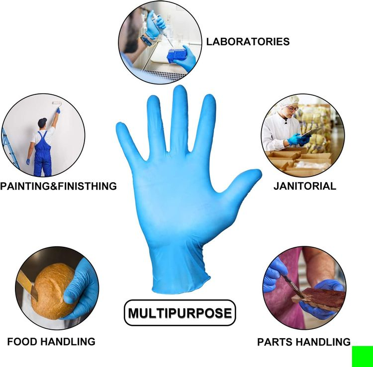 PEIPU Nitrile and Vinyl Blend Material Disposable Gloves, Powder Free, Cleaning Service Gloves, Latex Free, 100 PCS Small