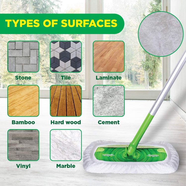 VanDuck Reusable 100% Cotton Mop Pads Compatible Swiffer Sweeper, 2-Pack (Mop is Not Included)