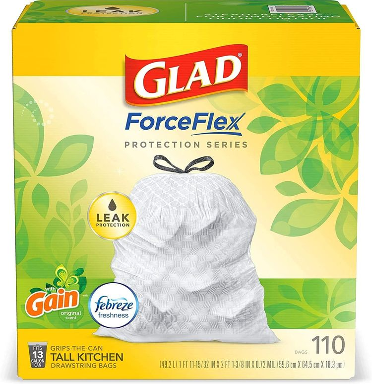 ForceFlex Tall Kitchen Drawstring Trash Bags 13 Gallon White Trash Bag, 1 Set Gain Original Scent with Febreze Freshness 110 Count (Package May Vary), 1 Set