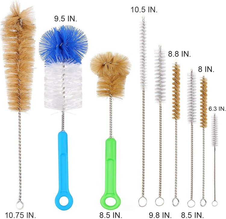 Houseables Bottle Brush, Pipe Cleaning Kit, Bong Brushes, Water Bubbler, Hose Tips Cleaner, 9 Pieces, Nylon, Natural & Synthetic Bristles, Small, Long, Scrubber for Tubes, Straws, Canning Jars