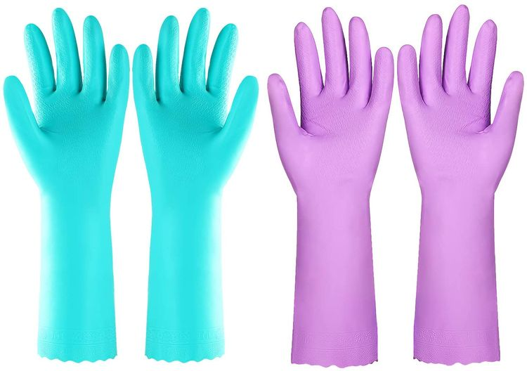 Reusable Dishwashing Cleaning Gloves with Latex free, Cotton lining ,Kitchen Gloves 2 Pairs (Purple+Blue, Medium)