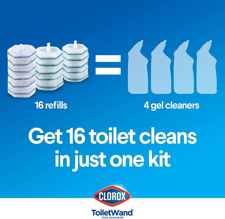 Clorox ToiletWand Disposable Toilet Cleaning System - ToiletWand, Storage Caddy and 16 Disinfecting ToiletWand Refill Heads (Package May Vary)