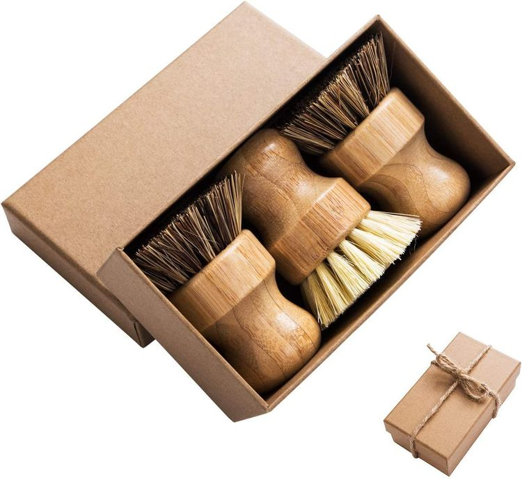 Palm Pot Brush- Bamboo Round 3 Packs Mini Dish Brush Natural Scrub Brush Durable Scrubber Cleaning Kit with Union Fiber and Tampico Fiber for Cleaning Pots, Pans and Vegetables
