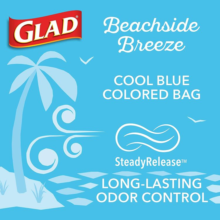 Glad Small Kitchen Drawstring Trash Bags 4 Gallon Green Trash Bag, Febreze Beachside Breeze, 80 Count (Package May Vary)