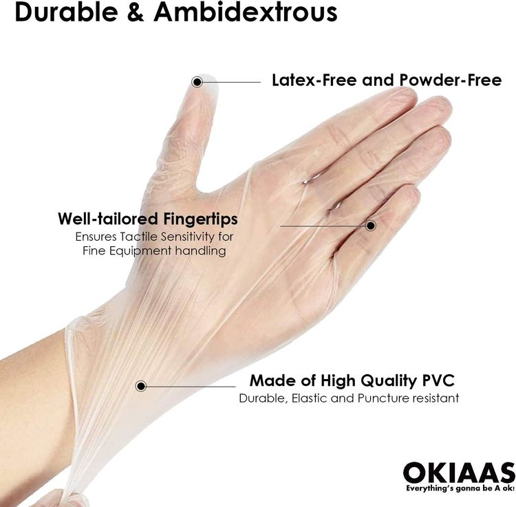 OKIAAS Disposable Gloves M| Latex and Powder-Free Clear Vinyl Gloves for Household, Food Handling, Lab Work and More| Medium,100 Counts/Box