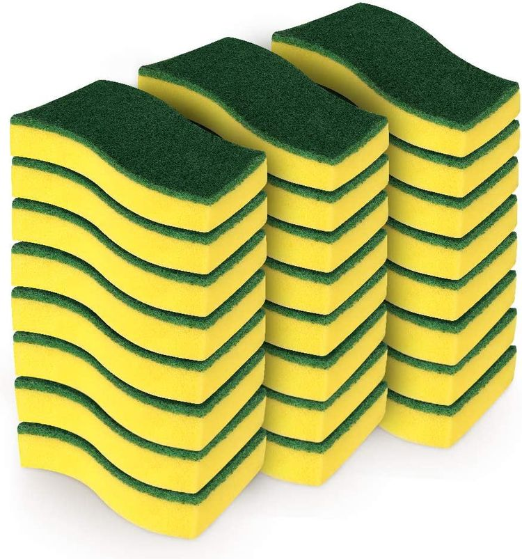 """AIDEA Heavy Duty Scrub Sponge-24 Count, Cleaning Scrub Sponge, Stink Free Sponge, Effortless Cleaning Eco Scrub Pads for Dishes,Pots,Pans All at Once,Size: 4.3""""x 3.12"""" x 1.2"""""""