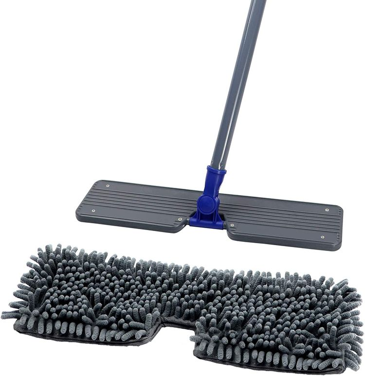 """Microfiber Flip Flat Dust Mop 16.8"""" Reversible Floor Mop with 4 Washable Mop Pads Refills and 1 Cleaning Comb for Hardwood Laminate Ceramic Marble Tile Floors Cleaning"""