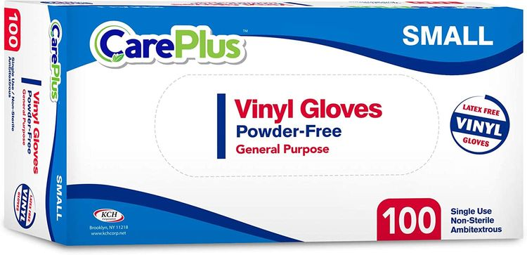 Disposable Vinyl Gloves Small, Non Latex Powder Free 100 Count Clear