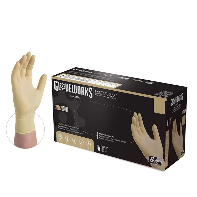 GLOVEWORKS HD Industrial Ivory Latex Gloves, Box of 100, 8 Mil, Size Large, Powder Free, Textured, Disposable, ILHD46100-BX