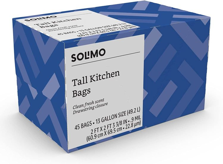 Brand - Solimo Tall Kitchen Drawstring Trash Bags, Clean Fresh Scent, 13 Gallon, 45 Count
