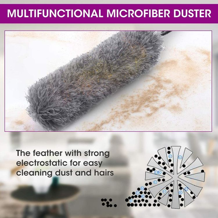 4PCS Microfiber Duster for Home, LIUMY Telescopic Duster for Cleaning,with Extension Pole(30-100inch), Plumeros Para Limpieza,Bendable & Washable Dusters for Ceiling Fan,Cobweb, Furniture & Cars
