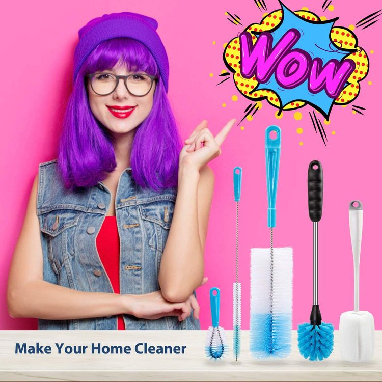 Holikme 5 Pack Bottle Brush Cleaning Set,Long Handle Bottle Cleaner for Washing Narrow Neck Beer Bottles, Wine Decanter, Narrow cup,Pipes, Hydro Flask Tumbler, Sinks, Cup cover,Blue