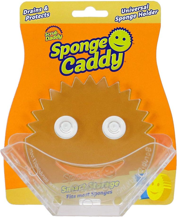 Scrub Daddy Sponge Caddy - Universal Self Draining Sponge Holder with Convenient Storage, Dual Non-Slip Suction Cups, Easy to Clean, Smart Storage, Keeps Counters Clean, Dishwasher Safe - 1ct