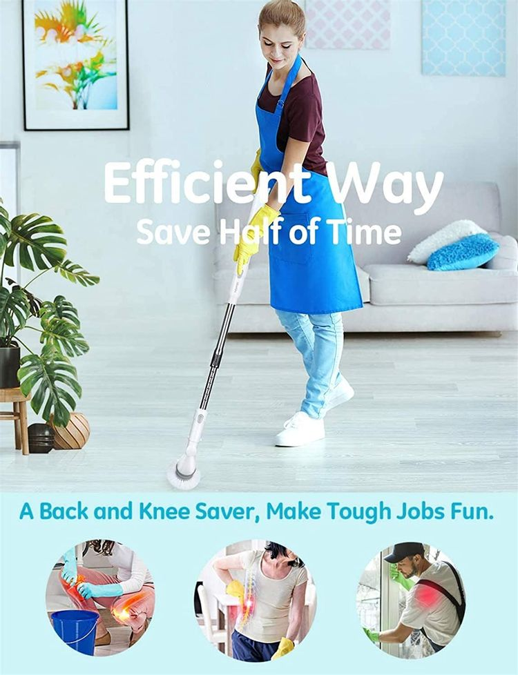Homitt Electric Spin Scrubber Power Brush Floor Scrubber, Cordless Shower Scrubber with Adjustable Extension Arm and 3 Replaceable Bathroom Scrubber Cleaning Brush Heads for Tub, Tile, Floor