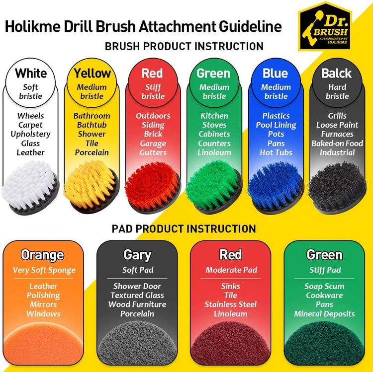 Holikme 8 Piece Drill Brush Attachment Set Scouring Pads Power Scrubber Brush Scrub Pads Cleaning Kit-All Purpose Cleaner for Bathroom Surfaces, Grout, Floor, Tub, Shower, Tile, Corners,Black