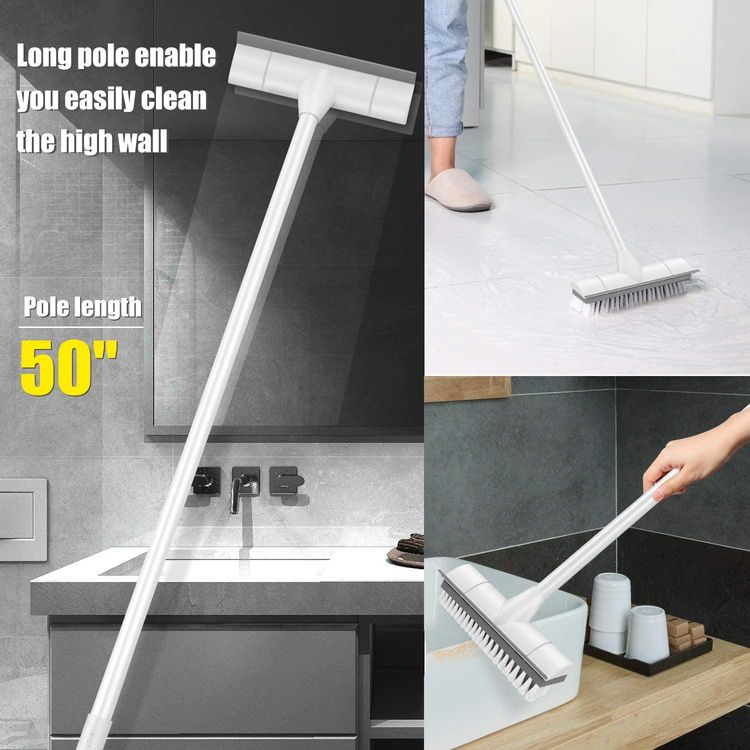 """BOOMJOY Floor Scrub Brush with Long Handle -50"""" Stiff & Soft Brush, 2 in 1 scrape and brush,Tub and Tile Brush for Cleaning Bathroom, Patio, Kitchen, Wall and Deck"""