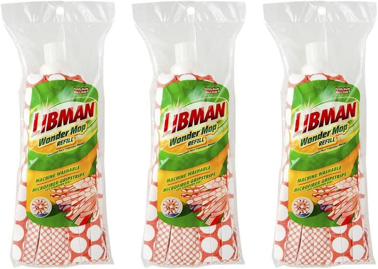 Libman Wonder Refill Pack – for Powerful Cleanup – Three Absorbent Wet Mop Replacement Heads for Hardwood, Tile, Vinyl. Machine Washable, 11.5 Inch