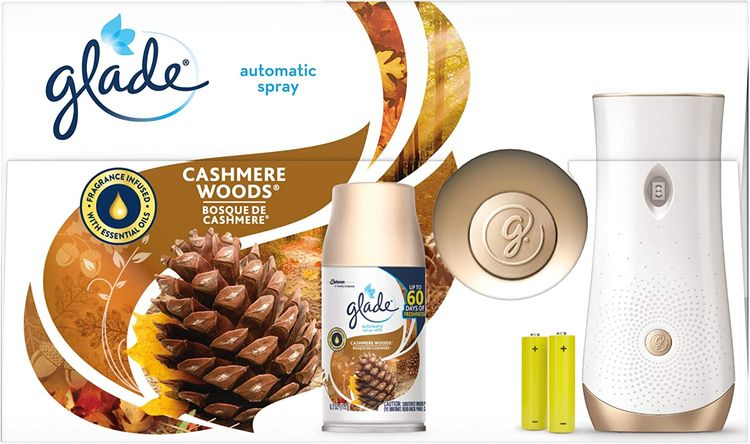 Glade Automatic Spray Refill and Holder Kit, Air Freshener for Home and Bathroom, Cashmere Woods, 6.2 Oz