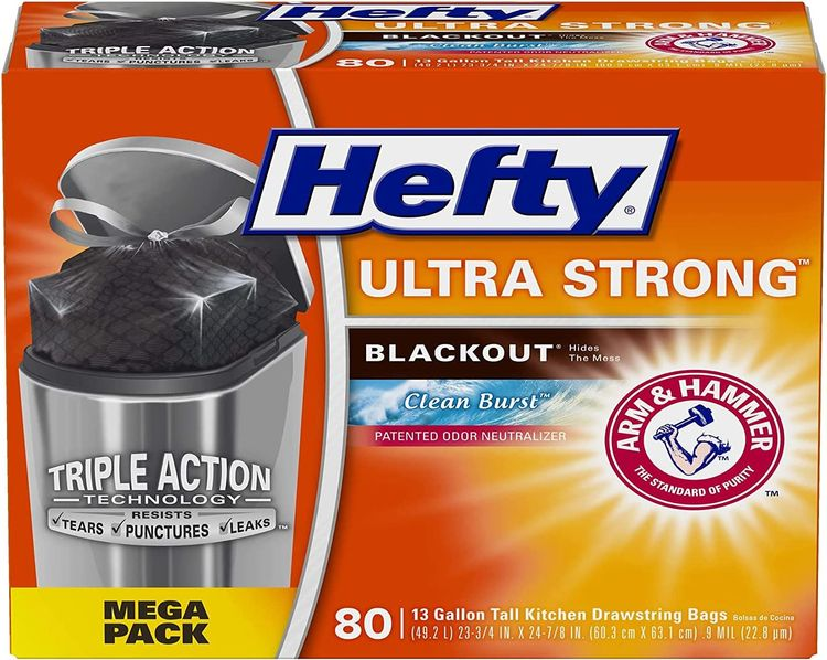 """Hefty Ultra Strong Tall Kitchen Trash Bags, Blackout, Clean Burst, 13 Gallon, 80 Count (!!"""" 0 1 Box ( Clean Burst - 80 Count ))"""