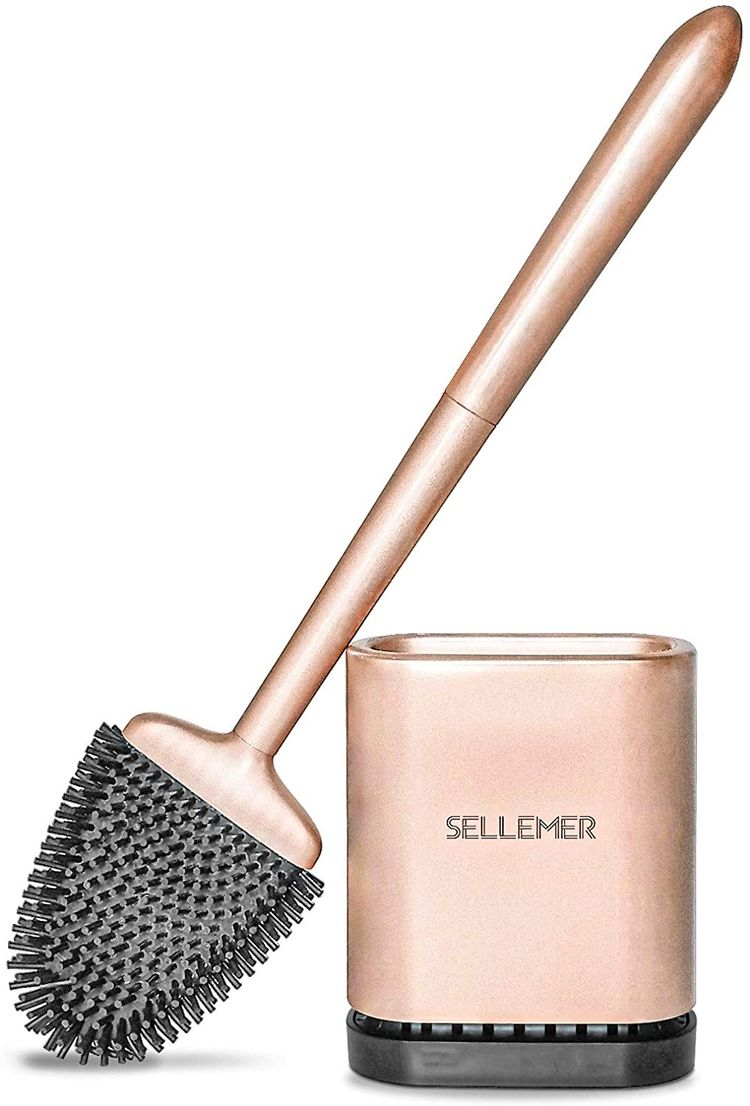 Sellemer Bathroom Toilet Brush and Holder Set, Toilet Bowl Cleaner Brush with Holder for Bathroom Storage and Organization, Carrying Solid Anti-Rust Handle Design (Rose Gold)