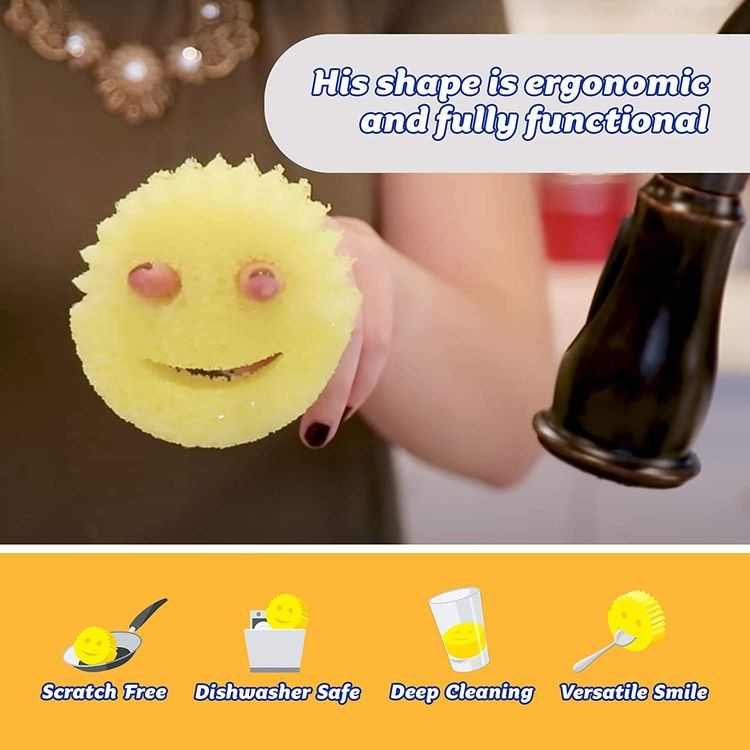 Scrub Daddy The Original FlexTexture Sponge, Soft in Warm Water, Firm in Cold, Deep Cleaning, Dishwasher Safe, Multiuse, Scratch Free, Odor Resistant, Functional, Ergonomic, 3pk