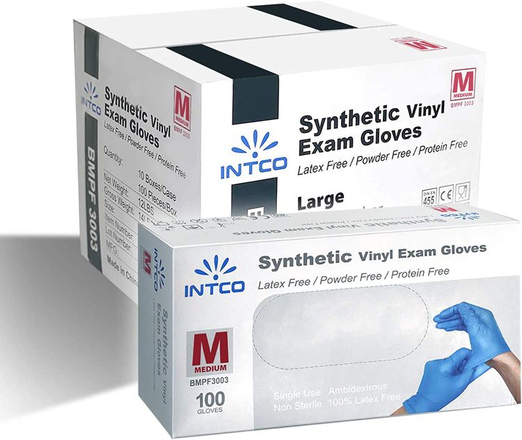 1000 Synthetic Vinyl Exam Gloves, Gloves Disposable -Latex Free & Powder Free