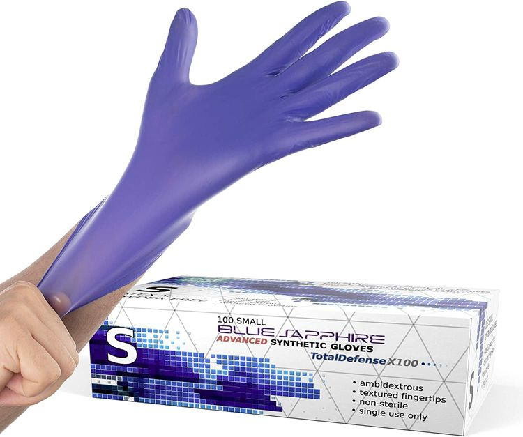 Powder Free Disposable Gloves Small - 100 Pack - Synthetic Nitrile - Extra Strong, 4 Mil Thick - Latex Free, Food Safe, Blue - Medical Exam Gloves, Cleaning Gloves