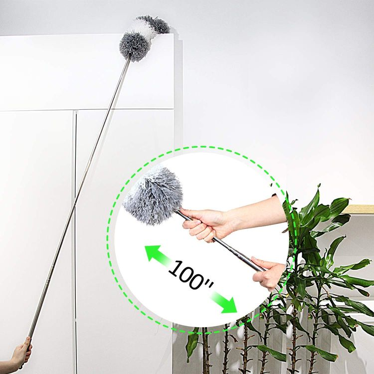 """BOOMJOY Microfiber Feather Duster with Extendable Pole, 100"""" Telescoping Cobweb Duster for Cleaning, Bendable Head, Scratch-Resistant Cover, Washable Duster for Ceiling, Fan, Furniture"""