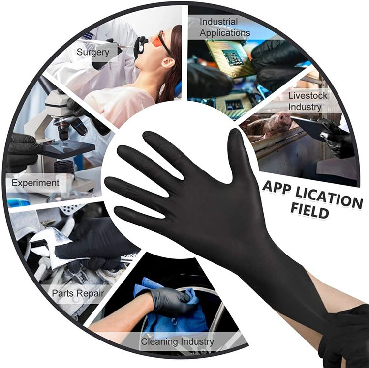 Nitrile Disposable Gloves Pack of 100, Latex Free Safety Working Gloves for Food Handle or Industrial Use