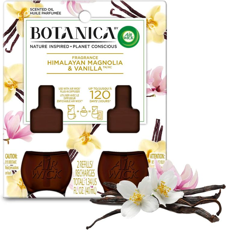 Botanica by Air Wick Plug in Scented Oil Refill, 2 Refills, Himalayan Magnolia and Vanilla, Air Freshener, Essential Oils