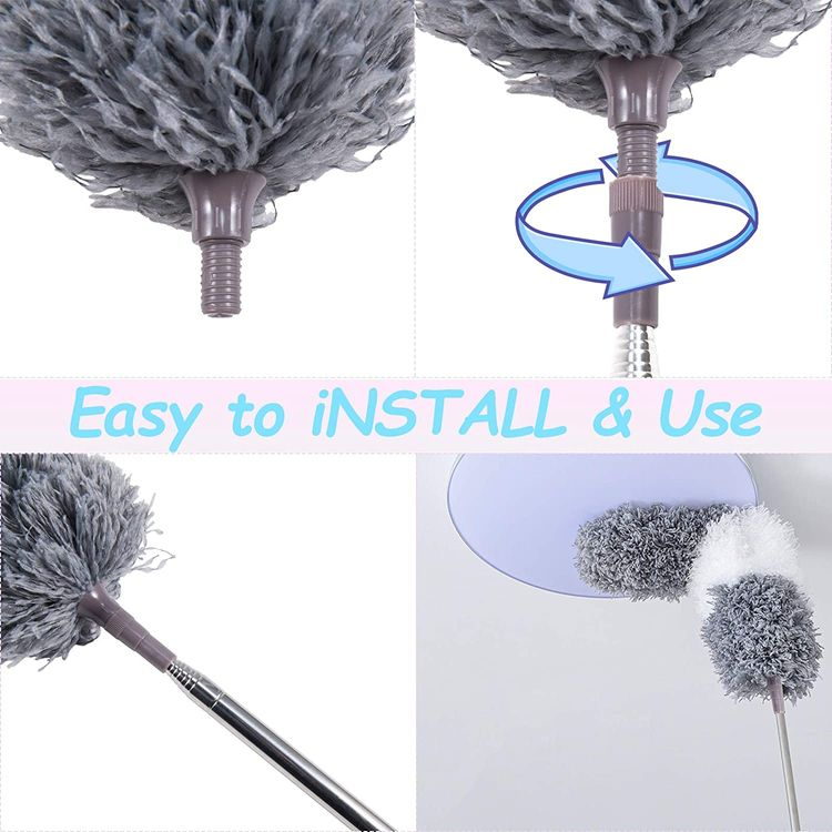 Microfiber Duster, with Extension Pole(Stainless Steel) 30 to 100 Inches, Reusable Bendable Dusters, Washable Lightweight Dusters for Cleaning Ceiling Fan, High Ceiling, Blinds, Furniture, Cars