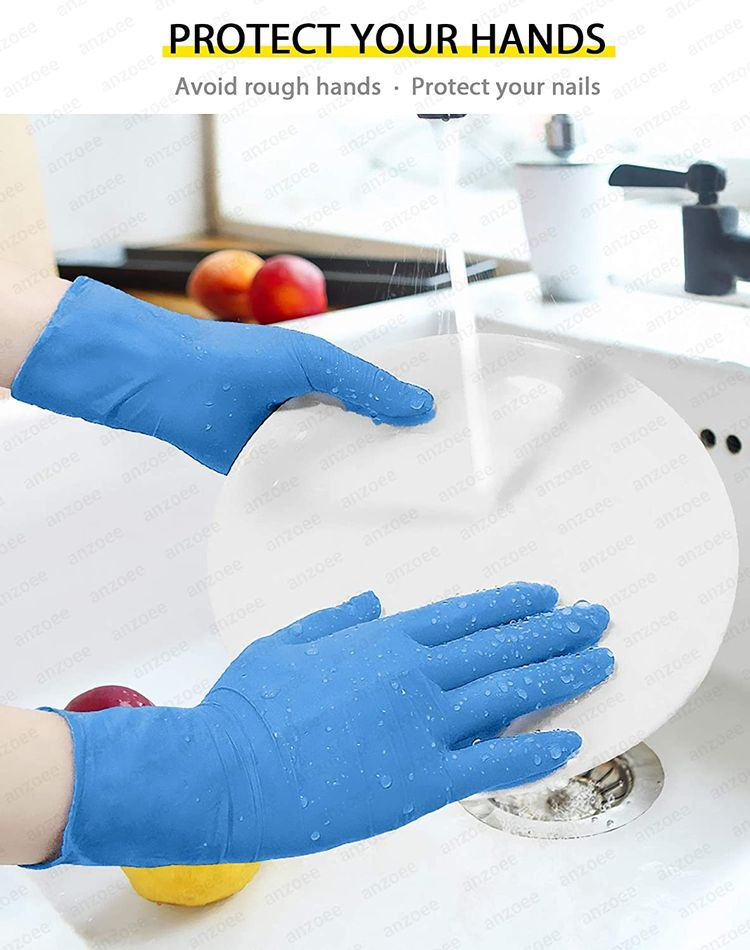 Anzoee 10 PCS Household Cleaning Gloves Dishwashing Gloves Washing Gloves for Dishes Cars Dogs Blue Medium with Textured Fingertips Food Service For Men Women