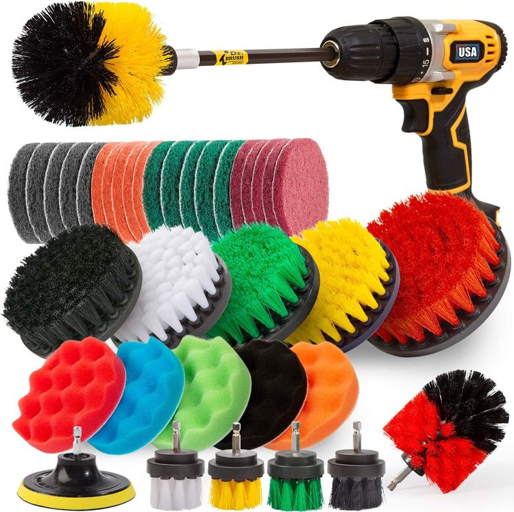 Holikme 38Piece Drill Brush Attachments Set,Scrub Pads & Sponge, Power Scrubber Brush with Extend Long Attachment All Purpose Clean for Grout, Tiles, Sinks, Bathtub, Bathroom, Kitchen,Yellow