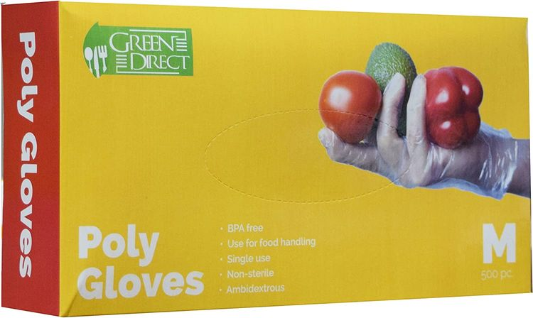 Plastic Disposable Gloves / BPA - Rubber - Latex Free / PE Food Preparation - Cleaning Poly Gloves Size Medium Box of 500